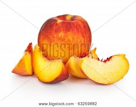 peach with slices on the isolated white background