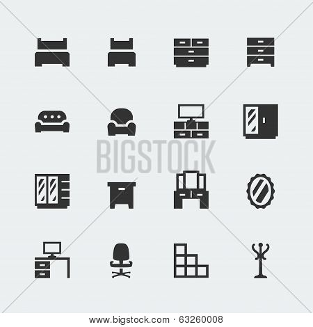 Vector Home Furniture Mini Icons Set #1