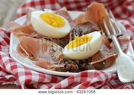 Red Endive Eggs And Hamon Warm Salad