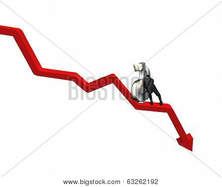 Moving Large Money Symbol Up On Red Arrow