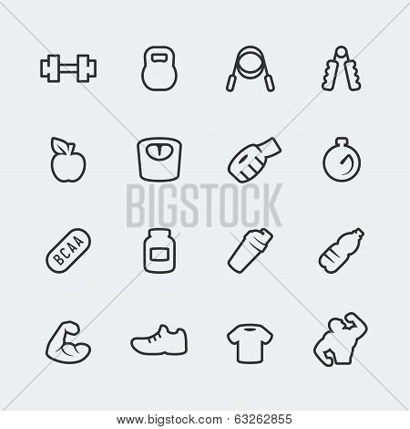 Vector Fitness / Bodybuilding Mini Icons Set