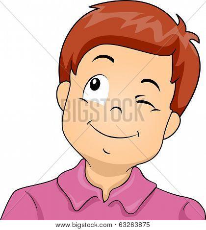 Illustration of a Little Boy Winking