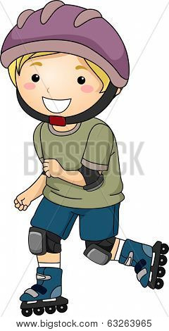 Illustration of a Little Boy Wearing Protective Gear While Inline Skating
