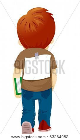 Illustration of a Bullied Boy with a Paper Stuck on His Back