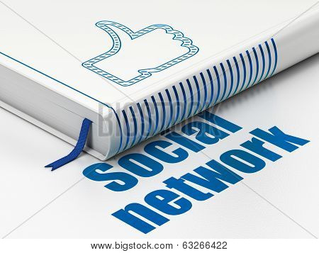 Social media concept: book Thumb Up, Social Network on white background
