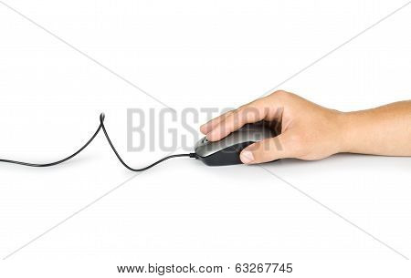 computer mouse in hand isolated on white