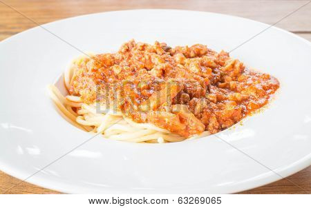 Spaghetti And Pork With Tomato Sauce