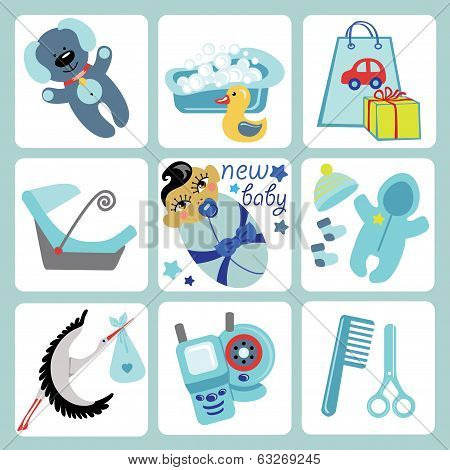 Cute Cartoons Icons For Asian Baby Boy.newborn Set