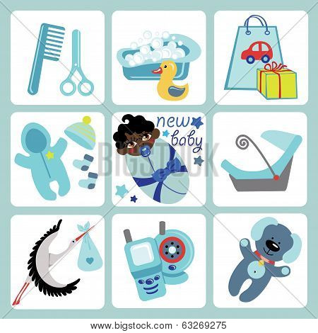 Cute Cartoons Icons For Mulatto Baby Boy.newborn Set