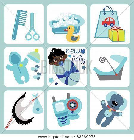 Cute Cartoons Icons For Mulatto Baby Boy.newborn Set