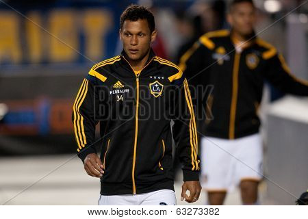 CARSON, CA - APRIL 12: Los Angeles Galaxy M Kenney Walker #34 during the MLS game between the Los Angeles Galaxy and the Vancouver Whitecaps on April 12th 2014 at the StubHub Center.