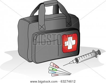 Medical bag with hypodermic syringes