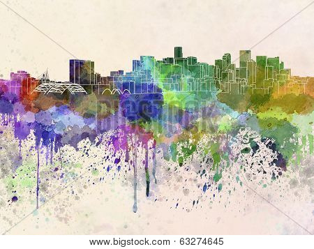 Denver Skyline In Watercolor Background