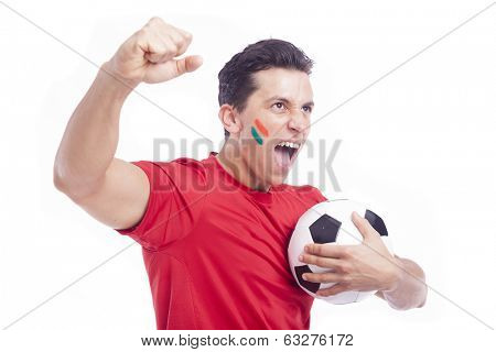 Portrait of a man supporting his team, isolated on white