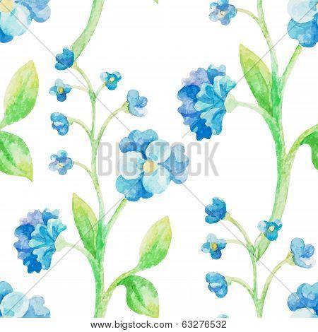 watercolor blue flower seamless pattern