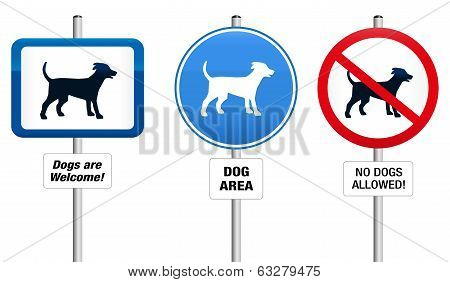 Dogs Prohibitory and Mandatory Sign