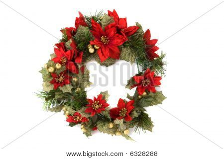 Christmas Wreath On Isolated Background