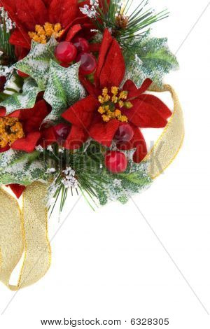 Poinsettia Christmas Decoration With Gold Ribbon