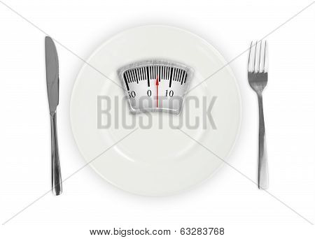 White Plate With Weight Scale