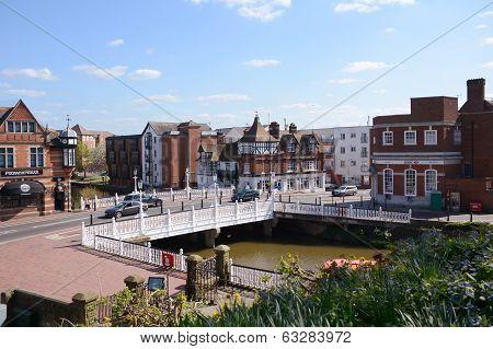 River Medway Flows Beneath Tonbridge High Street In Kent, England