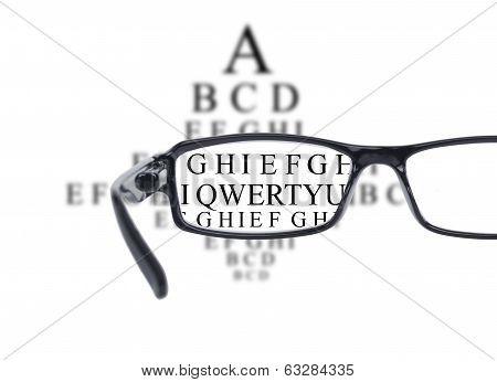 Sight Test Seen Through Eye Glasses