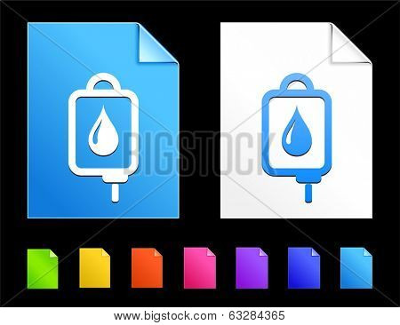 Blood Drip Icons on Colorful Paper Document Collection