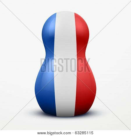 Russian tradition matrioshka dolls in France flag style.