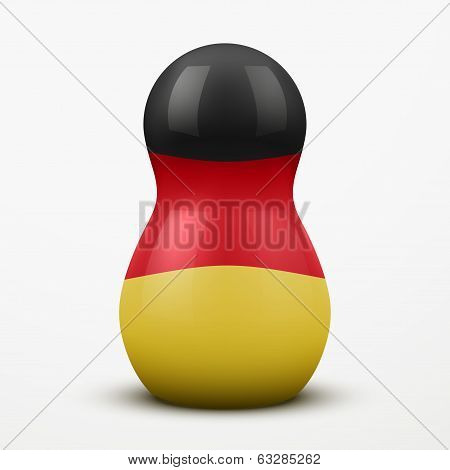 Russian tradition matrioshka dolls in Germany flag style.