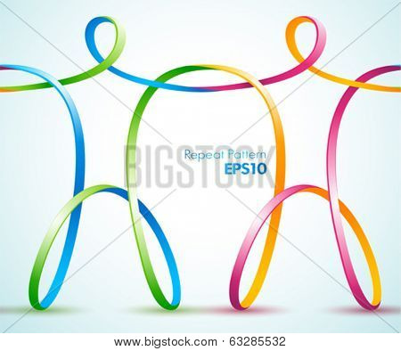 Continues vector design of connected ribbon figures