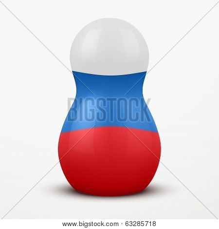 Russian tradition matrioshka dolls in flag style.