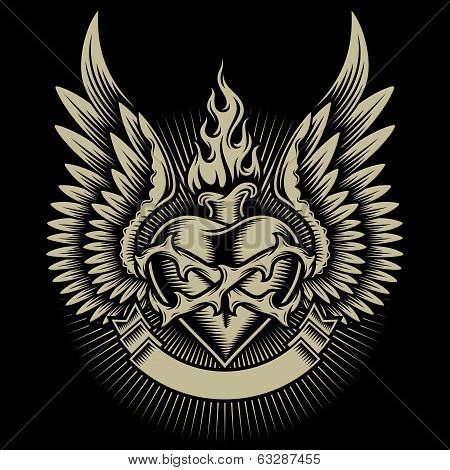 Winged Burning Heart With Thorns and Ribbon