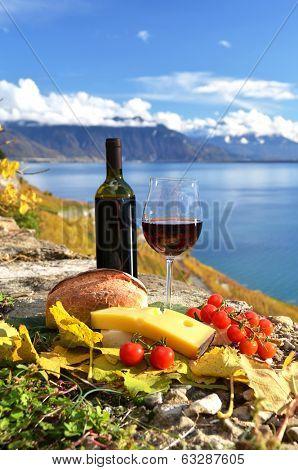 Red wine, chees, bread and cherry tomatos. Lavaux, Switzerland