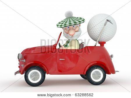 3D Little Man Golfist  By Car.
