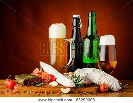 Traditional Sausages And Beer