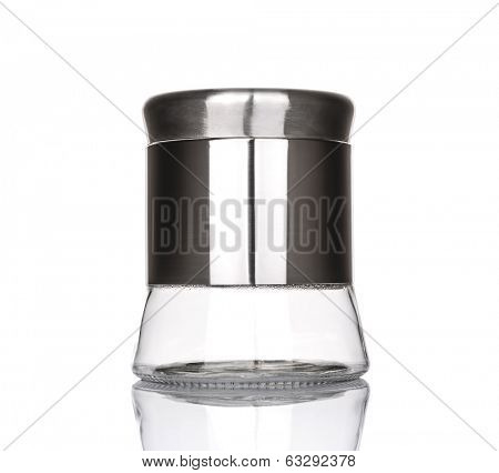 Empty glass jar with aluminum lid isolated on white background