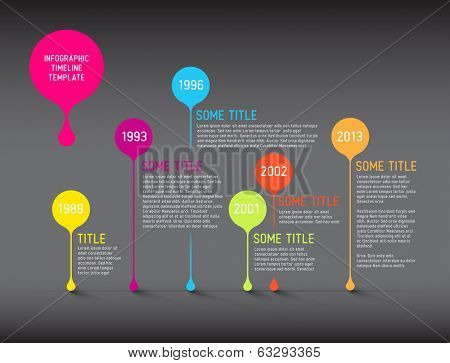 Dark Vector Infographic timeline report template with bubbles