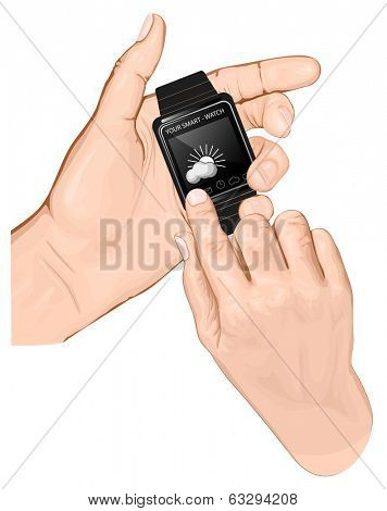 Hand hold smart-watch. Tap or double-tap gestures. Customizing the display. Vector illustration.