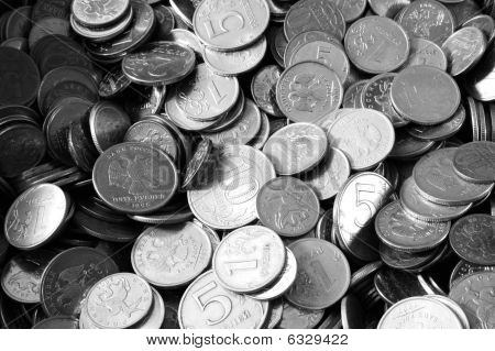 A Pile Of Russian Coins Desaturated
