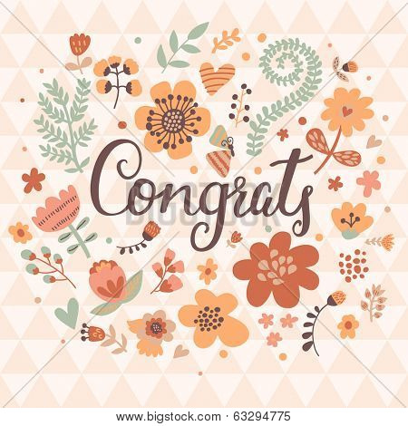 Congrats concept background. Stylish modern design element in vector. Romantic floral card in vintage style. Congratulations holiday design