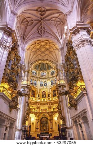 Basilica Stone Columns Stained Glass Cathedral Andalusia Granada Spain