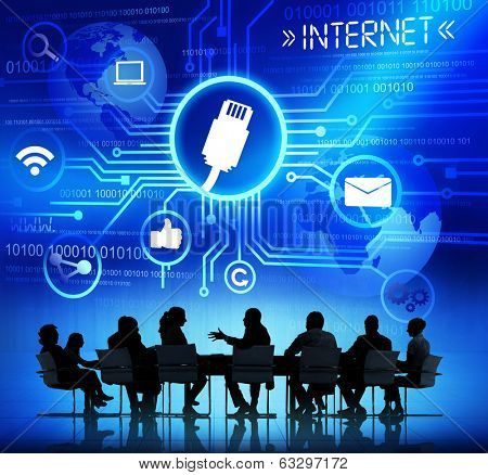 Group of Business People Dicussing Online Connectivity