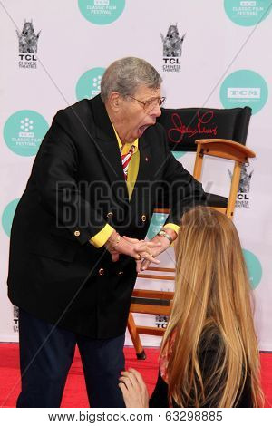 LOS ANGELES - APR 12:  Jerry Lewis at the Jerry Lewis Hand and Footprint Ceremony at TCL Chinese Theater on April 12, 2014 in Los Angeles, CA