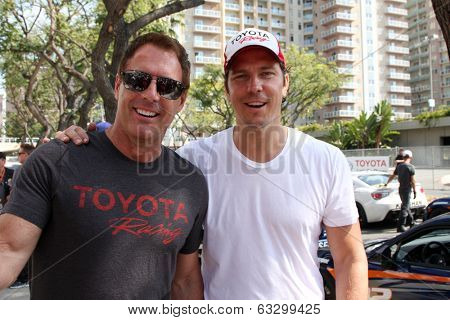 LOS ANGELES - APR 12:  Mark Steines, Michael Trucco at the Long Beach Grand Prix Pro/Celeb Race Day at the Long Beach Grand Prix Race Circuit on April 12, 2014 in Long Beach, CA