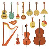 stock photo of double-bass  - Set of various string musical instruments in the flat style - JPG