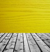 Wooden boards and yellow wood