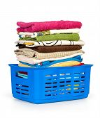 picture of dirty-laundry  - Colorful clothes in a laundry basket on white background - JPG
