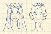 Princess. Sketches style in notebook