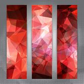 Set of banners with shining red polygonal pattern