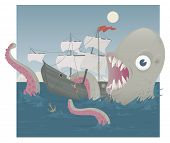 image of kraken  - A sea monster attacking a pirate ship with it - JPG