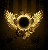 stock photo of outdated  - Brass round banner with metal wings and brass gears on striped Steampunk Background - JPG
